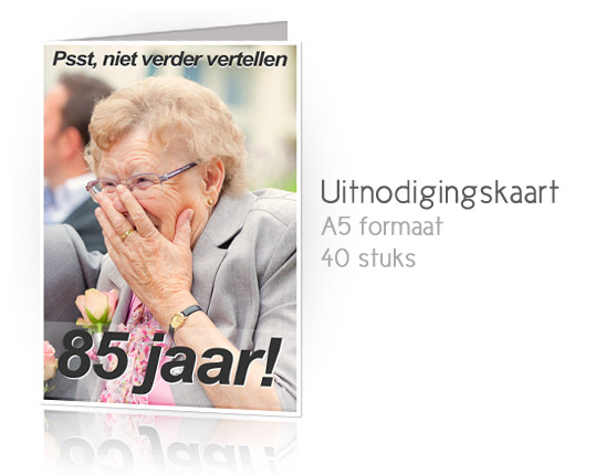 Ontwerp voor een uitnodigingskaart voor een 85e verjaardag. Fotografie ...: www.kan83.nl/portfolio/uitnodiging-85-jaar